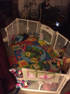 Her new play pen- Same room, just BIGGER and we got rid of the metal bars... ouch!
